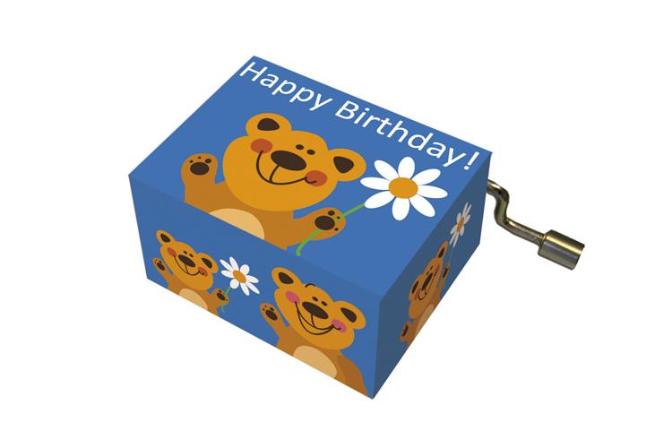 Boîte à musique: HAPPY BIRTHDAY ours avec fleur,