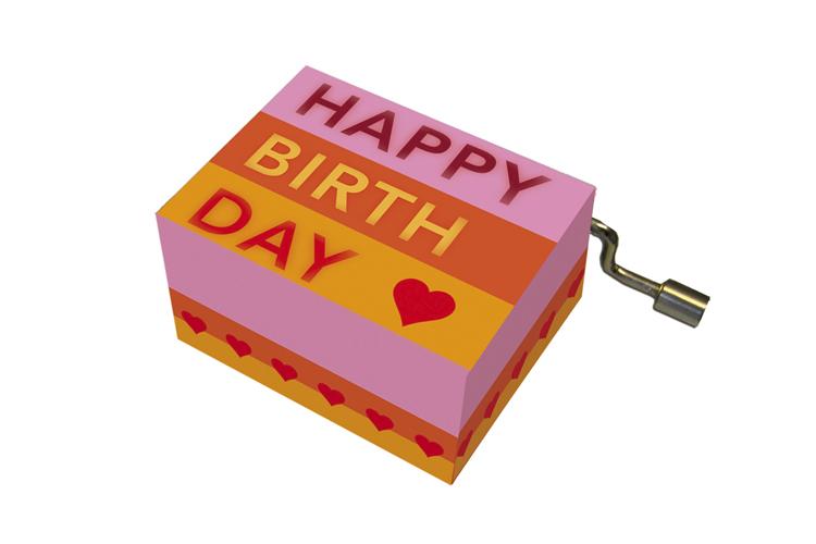 Boîte à musique: HAPPY BIRTHDAY rayé, mélodie