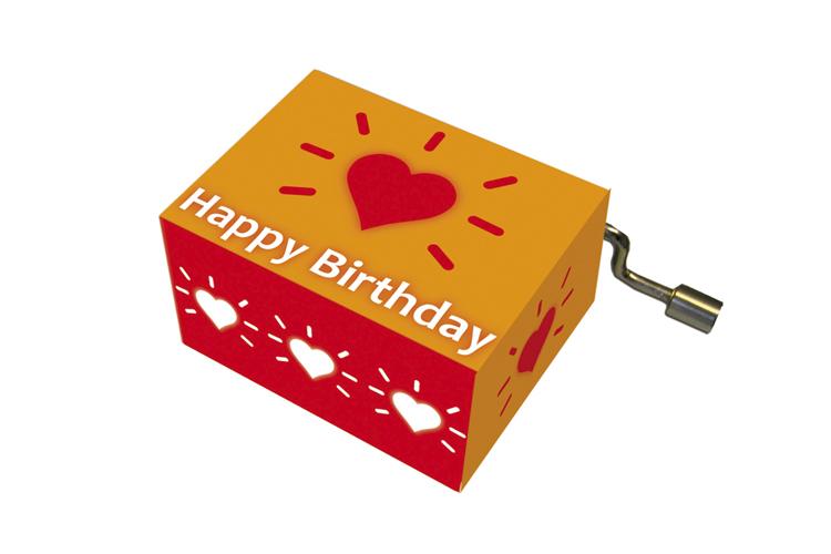 Boîte à musique: HAPPY BIRTHDAY coeur radieux, mélodie