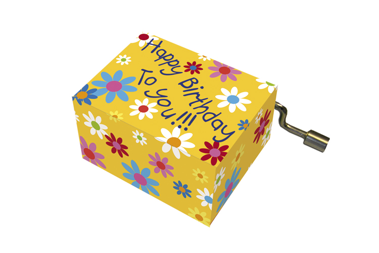 Boîte à musique: HAPPY BIRTHDAY fleur,